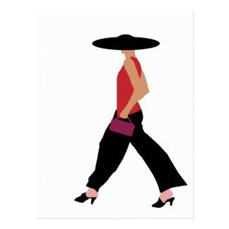 Modern Art Deco fashion girl red black Postcard