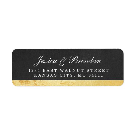 Modern Art Deco Gold Wedding Return Address Label