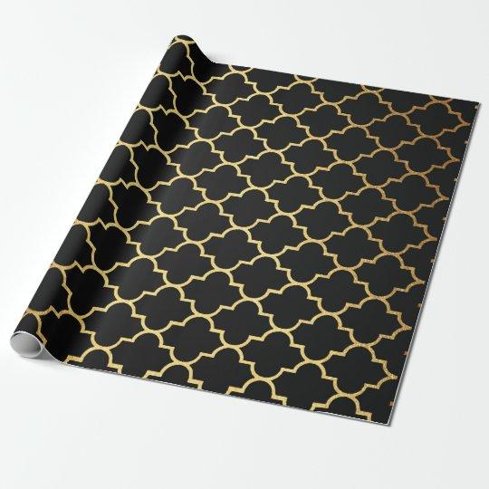 Modern Art Deco Golden Black Geometric Vip Wrapping