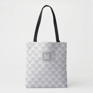 Modern Art Deco | Gray and White with Monogram Tote Bag