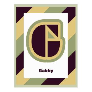Modern art deco letter G with striped border, name Postcard