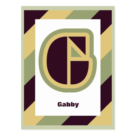 Modern art deco letter G with striped border, name Postcard