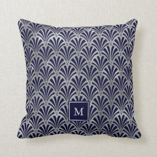 Modern Art Deco | Navy and Faux Silver Monogram Throw Pillow