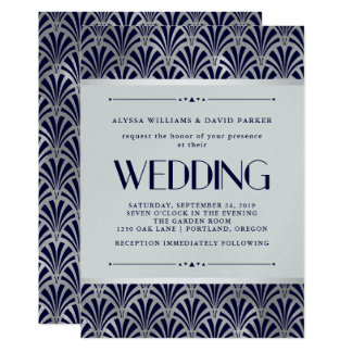 Modern Art Deco | Navy and Faux Silver Wedding Card