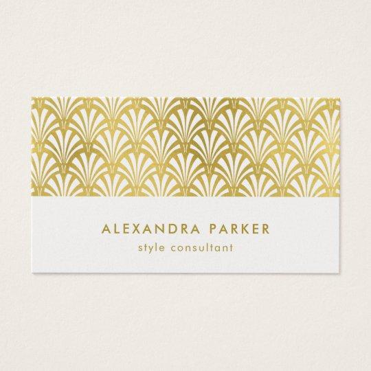 Modern Art Deco Pattern | Faux Gold on White