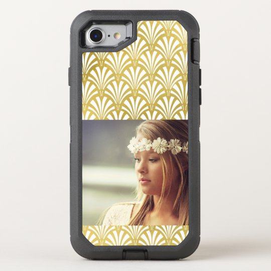Modern Art Deco Pattern | Faux Gold with Photo OtterBox Defender iPhone 7 Case