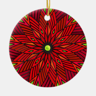 Modern Art Deco Poinsettia - Round (Personalized) Christmas Ornament