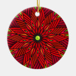 Modern Art Deco Poinsettia - Round (Personalized) Christmas Tree Ornaments