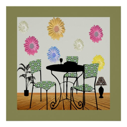 Modern art dining room interior design poster zazzle for Dining room posters