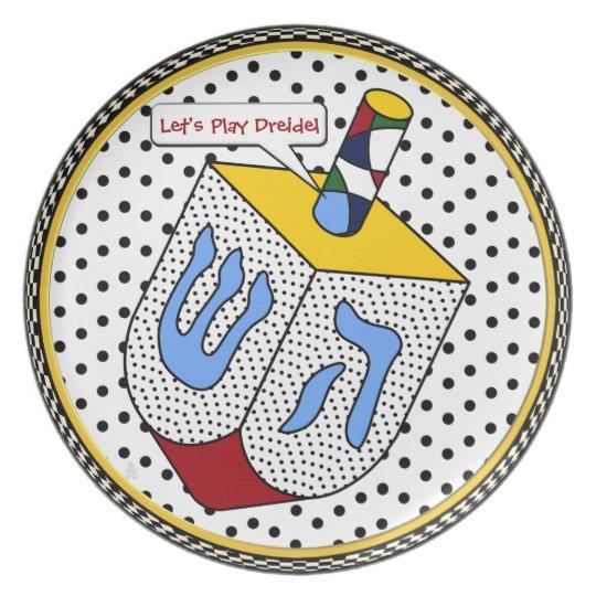 Modern Art Dreidel Gone Dotty (Personalised) Plate