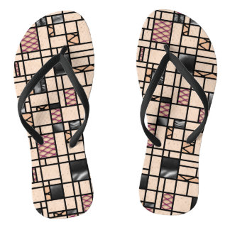 Modern Art Fishnets and Leather Pattern Flip Flops