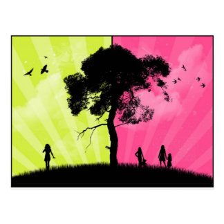 Modern Art - Green and Pink Sky With Tree Postcard