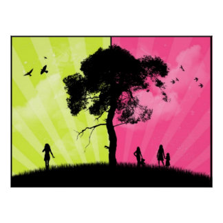 Modern Art - Green and Pink Sky With Tree Poster