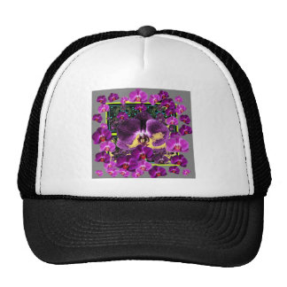Modern Art Grey-Purple Pink  Orchids Art gifts Cap