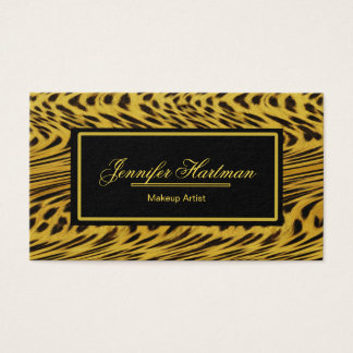 Modern Art Leopard Print Gold Business Card