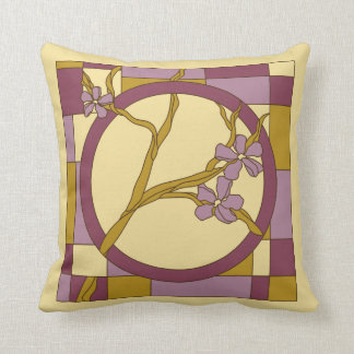 Modern Art Nouveau flowers circle purple Cushion