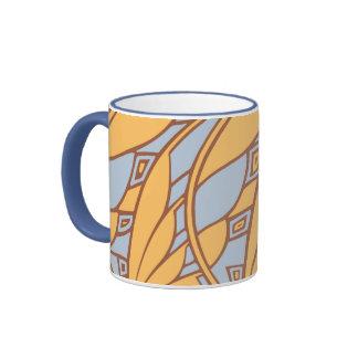 Modern art nouveau tessellations gamboge and azure ringer mug