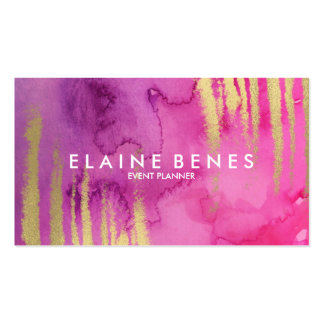 Modern Art Pink and Gold Business card