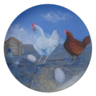 Modern Art Plate - Chickens And Eggs