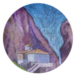 Modern Art Plate - Greek Monastry