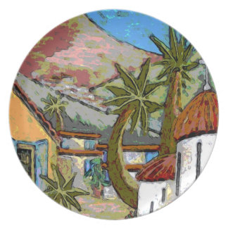 Modern Art Plate - Greek Village