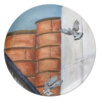 Modern Art Plate - Pigeons