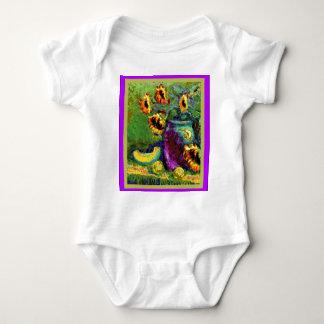 Modern Art Purple Vase Sunflower gifts bySharles Baby Bodysuit