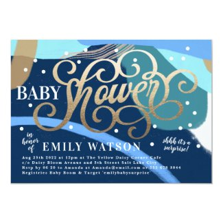 Modern Art Surprise Boy Gold Lettering Baby Shower Invitation