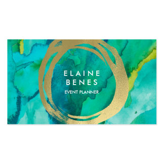 Modern Art Turquoise Gold Business card