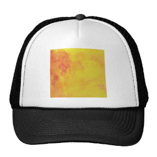Modern Art Watercolor Abstract Yellow Orange Red Mesh Hat