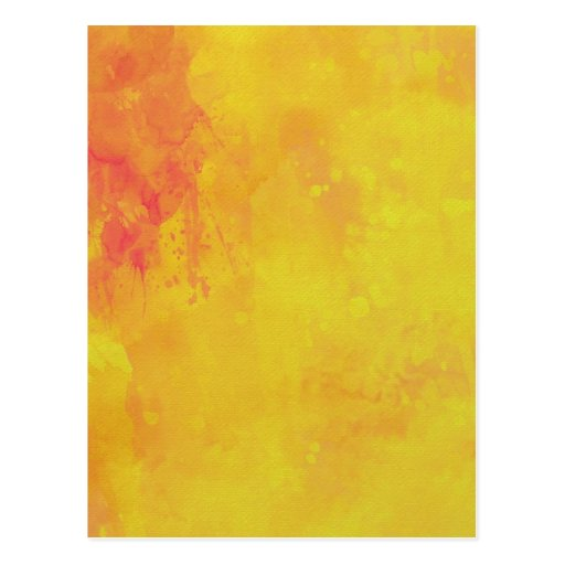Modern Art Watercolor Abstract Yellow Orange Red Post Cards