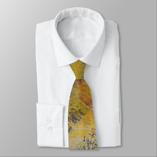 Modern Art Yellow Blue Abstract Artwork Painting Tie