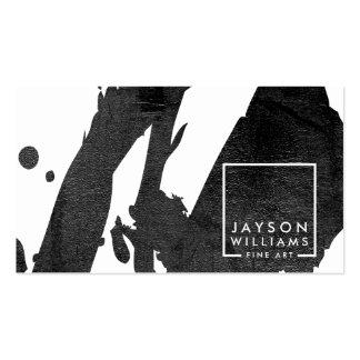 Modern Artist Abstract Black Brushstrokes Designer Pack Of Standard Business Cards
