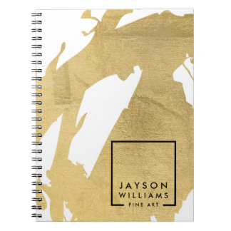 Modern Artist Abstract Faux Gold Brushstrokes Notebooks