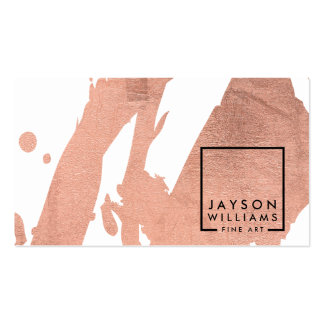 Modern Artist Abstract Faux Rose Gold Brushstrokes Pack Of Standard Business Cards