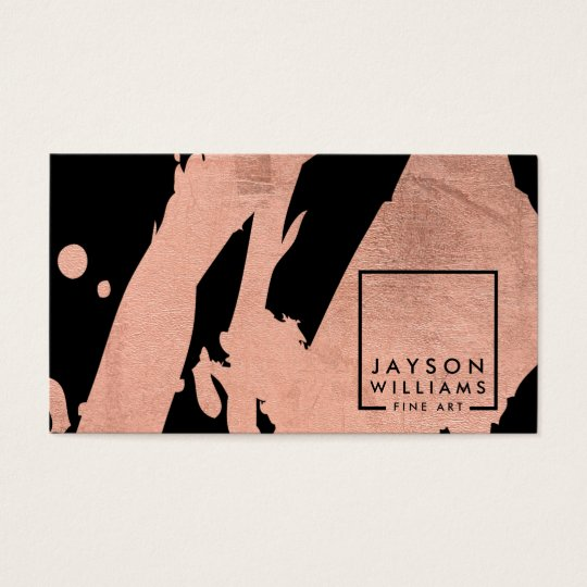 Modern Artist Abstract Rose Gold/Black Brushstroke Business Card