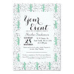 Modern Artistic Abstract Cactus and Triangles 9 Cm X 13 Cm Invitation Card