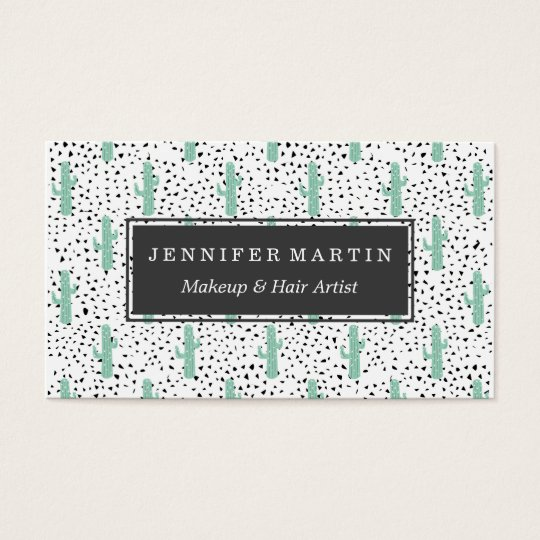Modern Artistic Abstract Cactus and Triangles Business Card