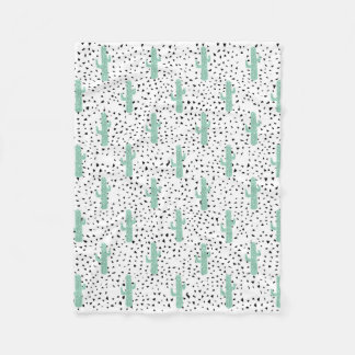 Modern Artistic Abstract Cactus and Triangles Fleece Blanket