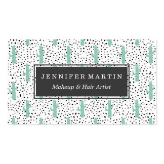 Modern Artistic Abstract Cactus and Triangles Pack Of Standard Business Cards