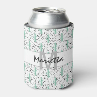 Modern Artistic Abstract Cactus Monogram Can Cooler