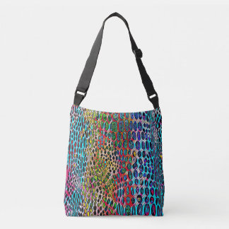 Modern Artistic Fall Toned Snake Skin Pattern Crossbody Bag