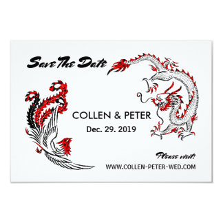 Modern Asian Chinese Dragon-Phoenix Save The Date Card