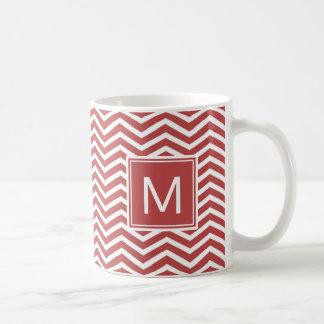 Modern Aurora Red Chevron Pattern With Monogram Coffee Mug
