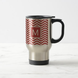 Modern Aurora Red Chevron Pattern With Monogram Travel Mug