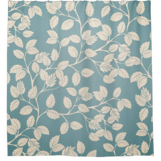 Modern Autumn Blue Leaf Shower Curtain