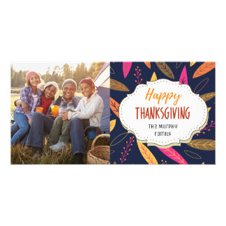 Modern Autumn Fall Thanksgiving Picture Photo Card