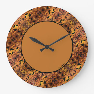 Modern Autumn Leaves Silhouette Pattern Large Clock