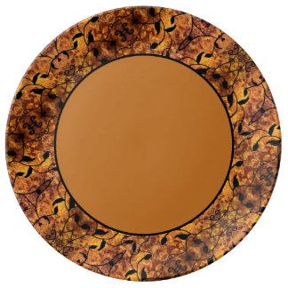 Modern Autumn Leaves Silhouette Pattern Plate