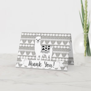 Modern Aztec Llama & Tribal Pattern Thank You